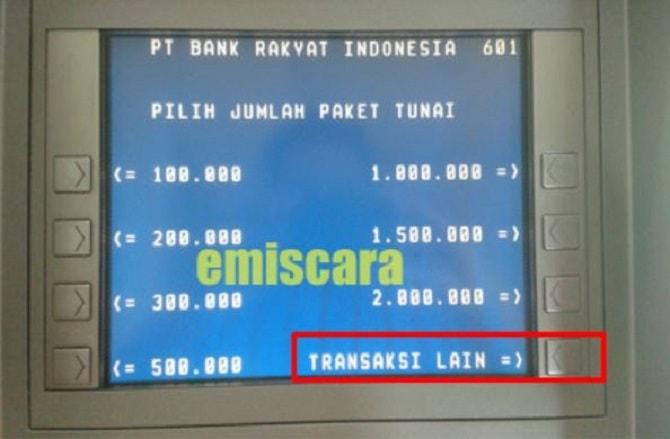 Menu Transaksi Lain ATM