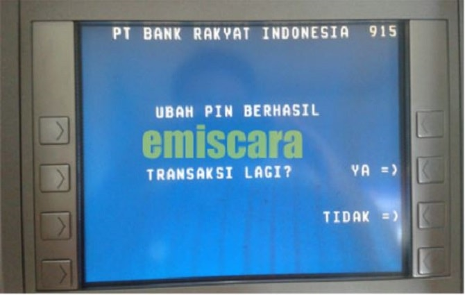 Penggantian PIN kartu ATM berhasil