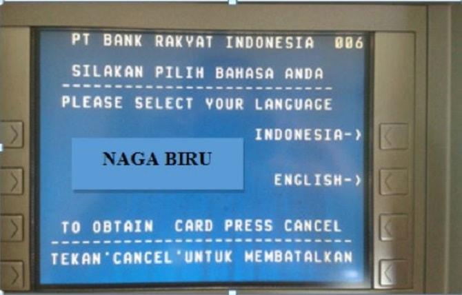 Pilihan bahasa pada ATM