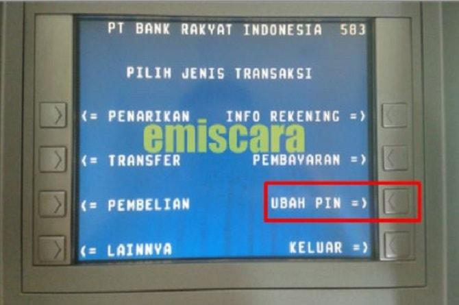 Submenu ubah PIN kartu ATM