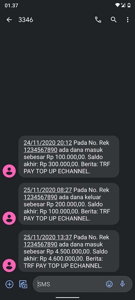 Contoh SMS notifikasi BNI