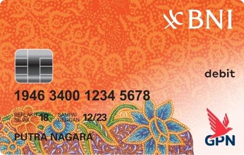 Kartu debit BNI GPN warna orange