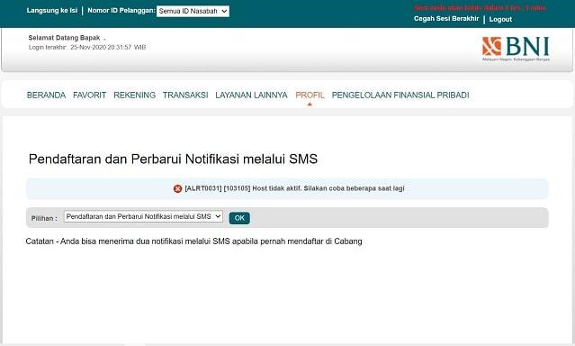 Pendaftaran SMS notifikasi BNI melalui internet banking