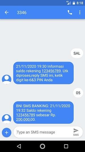 SMS banking BNI cek saldo