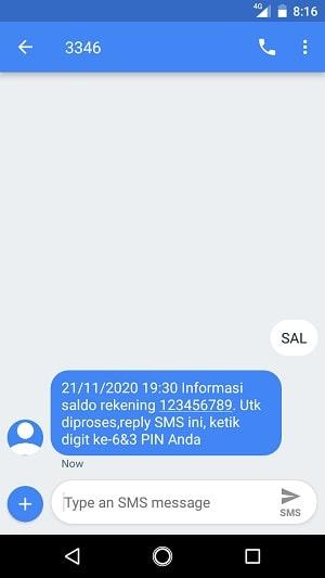 SMS banking BNI konfirmasi PIN