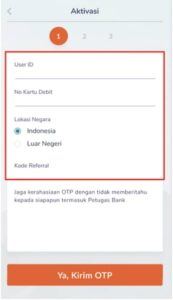 User ID dan nomor kartu debit