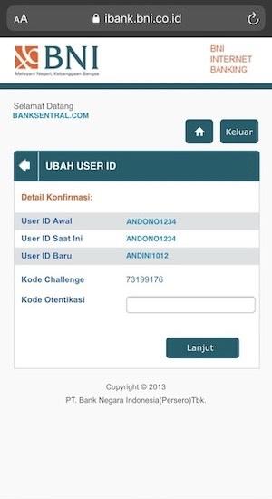 Konfirmasi ubah User ID