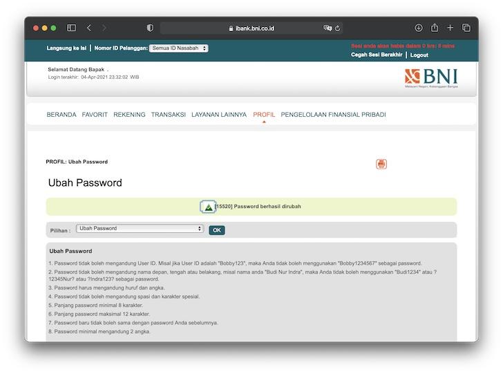 Password berhasil diubah