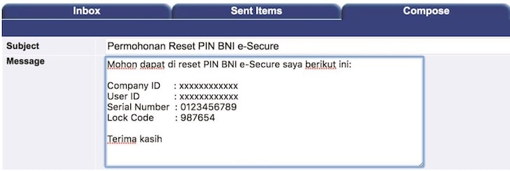 Reset PIN BNI e-Secure via online