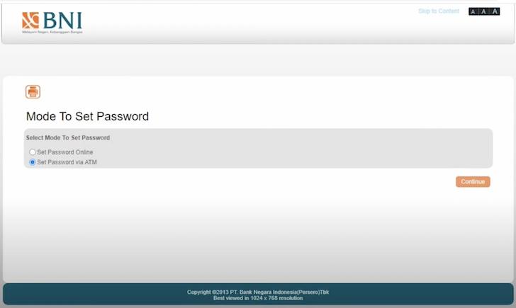 Set Password via ATM