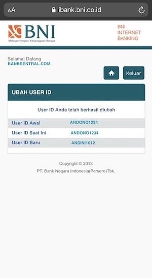 User ID berhasil diubah
