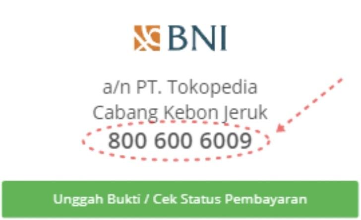 Nomor rekening BNI milik Tokopedia